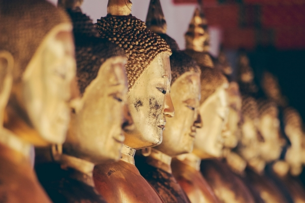 Row of golden statues of buddah in a religious temple in Bangkok